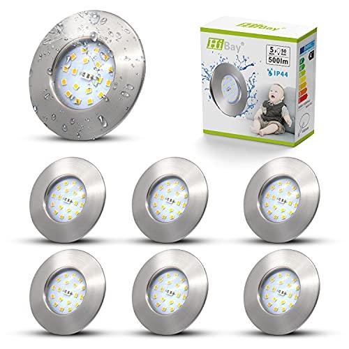6X Integrated LED Recessed Ceiling Lights IP44 Bathroom Spotlights...