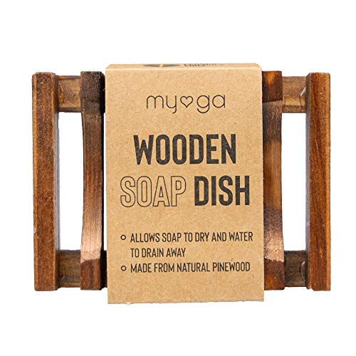 Myga Natural Wooden Soap Dish Storage Holder for Showers, Bathroom Sinks and Toilet Sink - Handmade Soap Container Kitchen Accessories - Water Draining Design Soap Rack