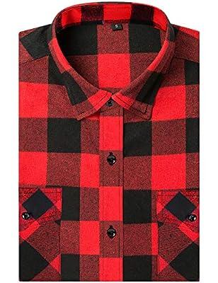 DOKKIA Men's Dress Buffalo Plaid Checkered Gingham Long Sleeve Flannel Shirt