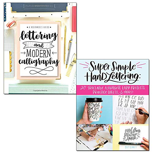 Price comparison product image Lettering and Modern Calligraphy and Super Simple Hand Lettering 2 Books Collection Set