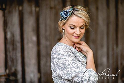 Brauthaarband Blumenkranz Blüten Diadem Braut Frisur Hochzeit Boho C1 - 2