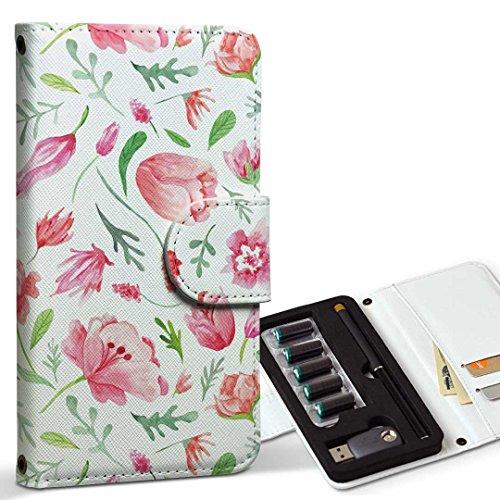 スマコレ ploom TECH プルームテック 専用 レザーケース 手帳型 タバコ ケース カバー 合皮 ケース カバー 収納 プルームケース デザイン 革 花柄 ピンク かわいい 011876