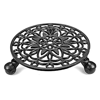Fasmov Cast Iron Plant Stand Plant Pallet Caddy Plant Pot with Heavy Duty Wheels Indoor Planter Trolley Casters Rolling Tray Coaster