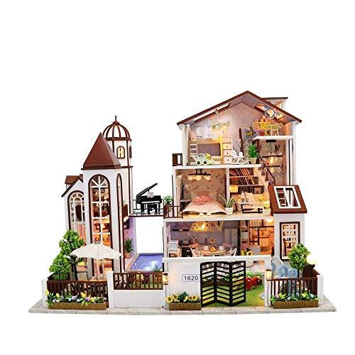 Nologo WMKEDY Stunt Car, Miniatura de Bricolaje Dollhouse Kit con música Ligera de Madera Juguete de la Familia de Las Muchachas de los Adultos,Funny Gifts