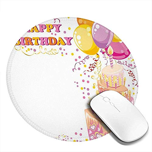 Ronde muismat, Celebration Girl Themed Party Cake Kaarsen Ballonnen Hartjes Beeldafdruk, Anti-lip Gaming Mouse Mat