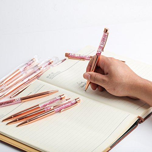 Liquid Sand Pen Ballpoint Pens 5 Pcs Metal Pen Refills Bling Dynamic Liquid Sand Pen Black Ink +10Pcs 2.75'' Ballpoint Pen Refills (5 Color) Photo #5