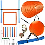 CHEERING PET Agility Training Equipment for Dogs, 28 Piece Dog Obstacle Course, Training and Interactive Play Includes Dog Tunnel, Adjustable Hurdles, Poles, Whistle, Rope Toy with Carrying Case