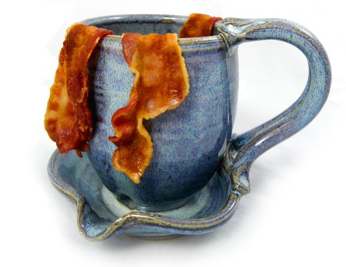 Hand-Sculpted Stoneware Microwave Bacon Cooker Mug, Made in USA (French Blue Blend)