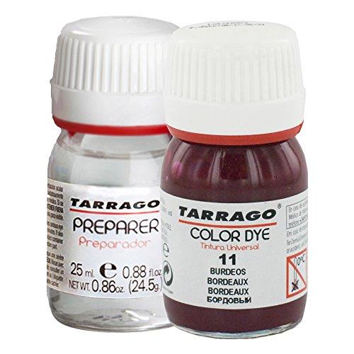 Tarrago | Self Shine Color Dye 25 ml Kit | Preparador para Cambiar el Color + Tinte Para Cuero y Lona de Secado Rápido Para Teñir Zapatos y Accesorios | Repara y Protege el Calzado (Burdeos 11)