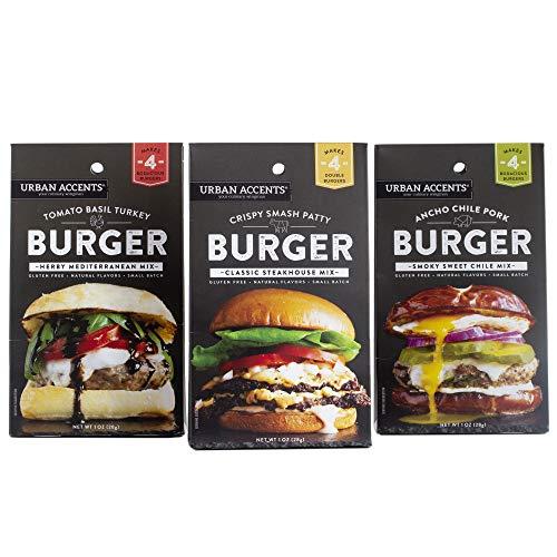 Urban Accents Gluten Free Burger Seasoning Bundle – Starter Hamburger Seasoning & Spice Packs (Set of 3) – Tomato Basil, Ancho Chile, Smash Burger Seasoning Blends
