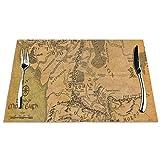 Manteles individuales de mesa resistentes al calor, lavables y de PVC, diseño del Señor del anillo (Mapa)