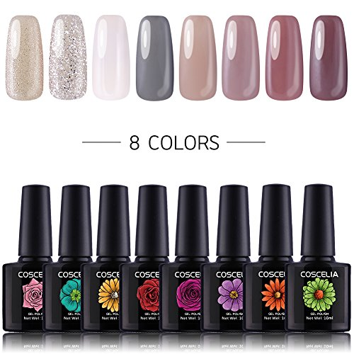 Coscelia 8pc UV Nagellack Farbgele Set Nailart Gellacken Nageldesign Nagelgel UV Gel Polish Nagelgel...