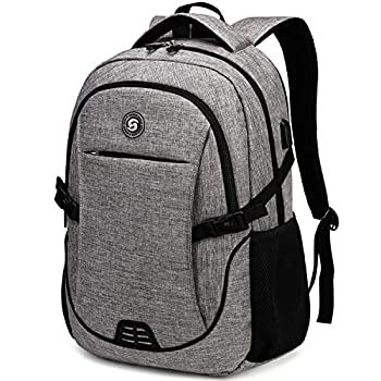 SHRRADOO Anti Theft Laptop Backpack Travel Backpacks Bookbag with usb Charging Port for Women & Men School College Students Backpack Fits 15.6 Inch Laptop Grey
