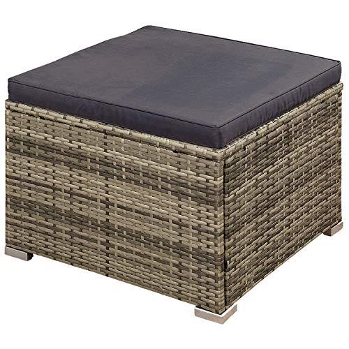 ArtLife Polyrattan Lounge Punta Cana L grau-meliert – Gartenlounge für 4-5 Personen – Gartenmöbel-Set mit Sessel, Sofa, Tisch, Hocker – Bezüge Dunkelgrau - 5