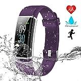 WZTO Armband Uhr mit Pulsmesser IP68 Wasserdicht Fitness Tracker Schrittzähler Schlafmonitor 14 Sport Modi Fitness Armband Aktivitätstracker für Herren Damen Kinder (Lila)