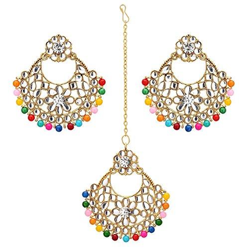 Jwellmart Women's Indian Bridal Collection Kundan Stone Pearl Maang Tikka Earring Set (Multicolor)