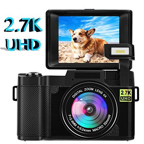 Digitalkamera Kamera Vlogging Kamera 24.0 MP 2.7K Ultra HD 3.0 Zoll Fotoapparat Digitalkamera mit Flip Screen Retractable Flashlight