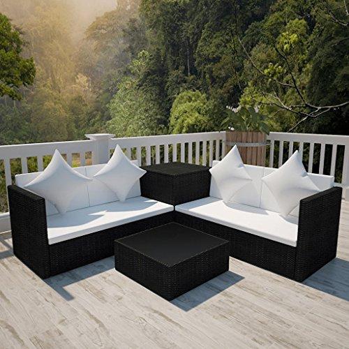Lingjiushopping Ensemble canapés de jardin 14 pièces en polyrotin modulaire Noir Couleur Coussins : Blanc crème Ensemble de meubles d'extérieur