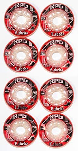 Labeda RPG X-Soft 4er 8er Set Hockey rot Rollen 72 mm Inliner Neu Skates 18-N 1(4er -Set) (4er Set Rolle)