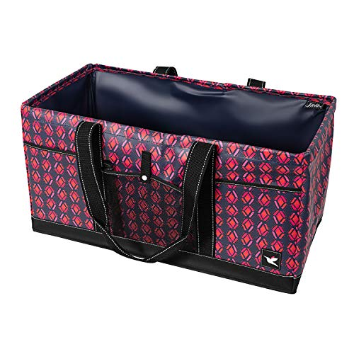 Stola Extra Large Utility Tote with Wire Frame Tote Bag for Storage Laundry Beach Travel Collapsible and Water Resistant Large Tote With 3 Exterior Pockets Magenta Pink Honeysuckle Tribal