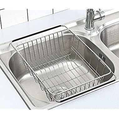 Adjustable Dish Drying Rack Over Sink, SZUAH 18/8 Stainless Steel Dish Drainer, Large & Deep Dish Rack for Counter top & Sink, 13  L x 9.8  W x 4.7  H(collapsible)