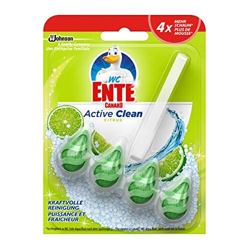 WC-Ente Active Clean WC Duftspüler-Einhänger, WC Reiniger, Citrus-Duft, 8er Pack (8 x 38,6ml)