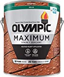 Olympic Stain 79614 Maximum Wood Stain and Sealer, 1 Gallon, Solid Stain, Navajo Red