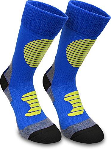 normani 3 Paar Multifunktionale Sportsocken mit Schienbein- & Fußrückenpolster - bestens geeignet als Skating- Inliner- Motorrad- & Trekkingsocken Farbe Blau/Gelb Größe 43/46