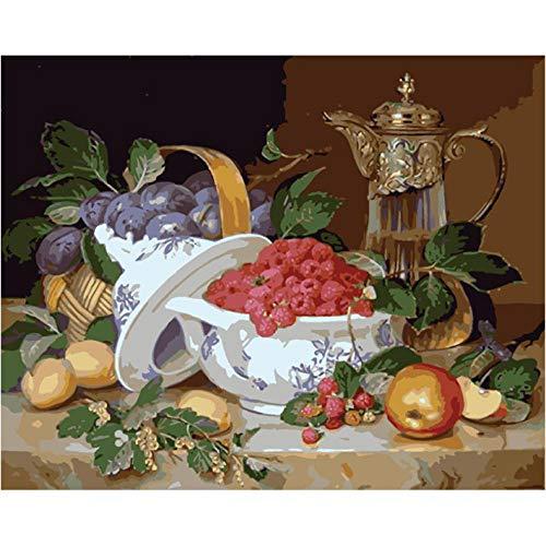 Stillleben Tisch Handgemachte Farbe Hochwertige Leinwand Schöne Malerei Nach Zahlen Überraschungsgeschenk Große Leistung40x50cm Rahmenlos