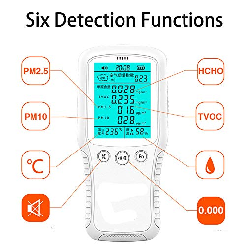 ZHLZH Luftqualität Messgerät, Innenraum-Verschmutzungsmessgerät für Formaldehyd, PM2,5, VOC, HCHO, PM10, Temperatur- und Luftfeuchtigkeitstest, Echtzeit-Lufttester-Kit mit farbigem LCD-Bildschirm