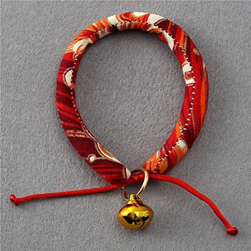 Greatangle Japanische Art Wind-Kragen-Welpen-Kragen-Katze Bell-Kragen-Haustier-Teddy Spitz-Hundehalsband Beste Tier-Geschenk - Rot - S