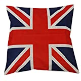 Huacel British Vintage Style Union Jack Flag Throw Pillow Case Cotton Linen Square Decorative Pillow Case Cushion Cover 18x18 Inch (45x45CM) - United Kingdom Flag