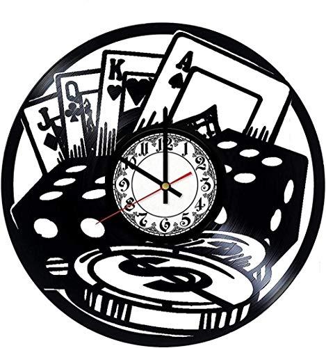 zgfeng Reloj de Pared de Vinilo Disco de Pared de Vinilo Decoración de Casino Retro Moderno-Sin LED