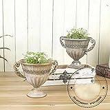 GMMH Copa de ánfora, jarrón decorativo, jarrón de flores, de metal antiguo, vintage, decoración retro (LN18-7, 24 cm de alto, color plateado)