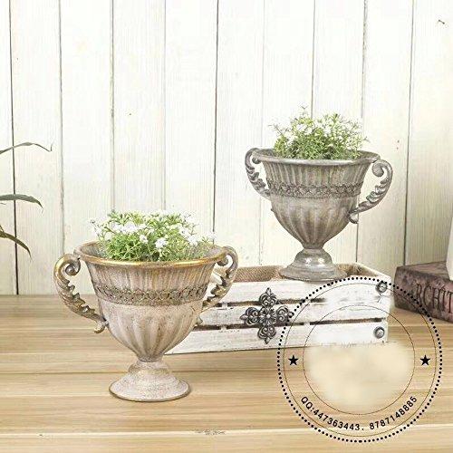 GMMH Pokal Amphore Dekovase Vase Blumenvase Antik Metall Vintage Deko Retro Design (LN18-7 24 cm Hoch Silber)
