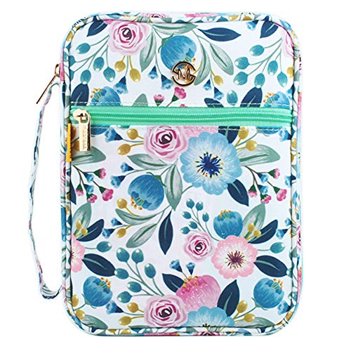 G-LEAF Bible Cover Case/Book Cover Floral Pattern with Handle Fits for Standard Size Bible, 10x7.5x2.5, Gift for Mom Gift for Daughter
