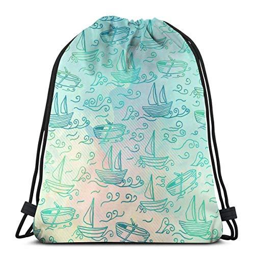 Hangdachang Gemaltes Segelboot auf dem Meer Gemaltes Segelboot auf dem Meer Leichte wasserdichte Kordelzugtasche Sport Gym Sack Taschen Rucksack für Männer Frauen Kinder