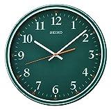 Seiko QXA751M - Reloj de pared con barrido silencioso de segunda mano, color verde oscuro
