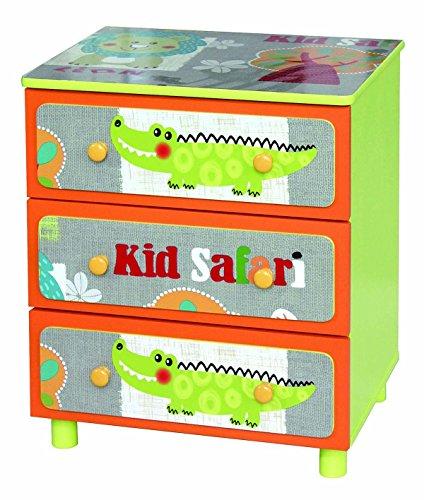 PEGANE Commode Enfant Motif Safari, L 43.5 x P 34 x H 50.5 cm