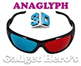 Gadget Hero's 3D Plastic Ana-Glyph Glasses Red/Blue. New Bottom Rimless Sports Style. For