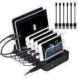 PRITEK Ladestation und Organizer für Handy, Tablet, Kopfhörer, MP3, MP4, 6 Anschlüsse, mehrere USB-Ladestation und Handy-Dockingstation mit Ladestatusanzeige + 6 USB-Kabel, Schwarz