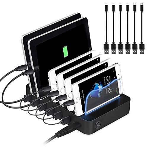 PRITEK Stazione di Ricarica USB con Cavi USB corti per Dispositivi Multipli 50W/10A Stazione di Ricarica Organizer a 6 porte per Cellulare, Tablet, Auricolare MP4 e altri Gadget Abilitati USB (Nero)