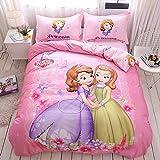 SLQL Juego de ropa de cama Anime Themed de princesas y madres, juego de 3 piezas, 1 funda nórdica y 2 fundas de almohada de microfibra suave 135 x 200 cm