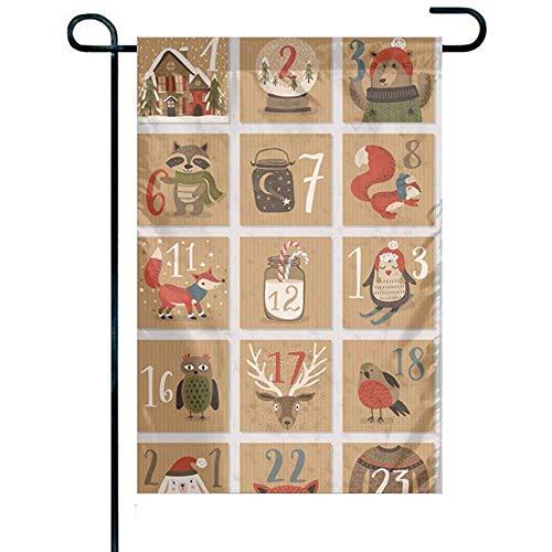 NA Casa de la Bandera de poliéster Resistente a la decoloración y Banderas Calendario de Adviento de Navidad 12 'x 18' Pulgadas de Banners Personalizados a Prueba de Agua