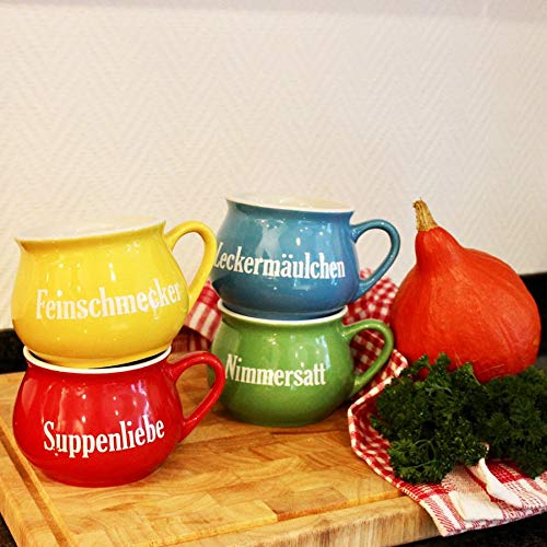 Keramik-Suppentassen 4er-Set Tasse Schüssel Suppenteller Schüsselset Suppentasse
