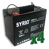 Set 4 x Batería AGM 60Ah 12V Fotovoltaico, Solar, Acumulación, Batería de descarga lenta
