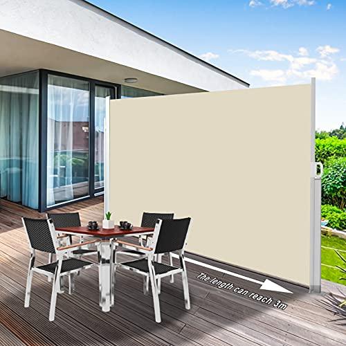 Toldo Lateral Retractil Impermeable con Varillas de Aluminio 180x300cm, Toldos Cortavientos para Terrazas, Patio, Jardín, Toldo Vertical Enrollable Exterior y Interior
