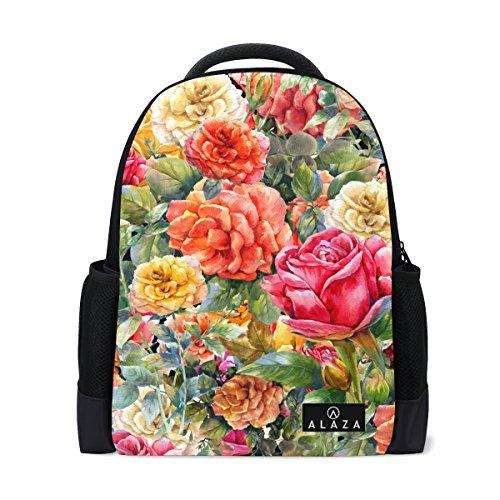 My Daily Rose Mochila floral vintage de 14 pulgadas portátil Daypack Bookbag para viajes, universidad y escuela