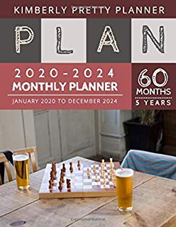 5 year monthly planner 2020-2024: 60 Months Calendar Large size 8.5 x 11 2020-2024 planner, organizer and password logbook | chess board design