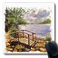 マウスパッド長方形7.9x9.8インチ水彩オイル木製橋川引き裂かれたエッジ自然絵画公園カラフルヴィンテージ風景滑り止めゴムマウスパッドオフィスコンピュータラップトップゲームマット